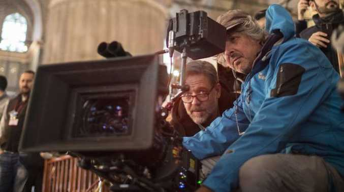 Director Russell Crowe and cinematographer Andrew Lesnie pictured on the set of the movie The Water Diviner. Supplied by Unviersal Pictures Australia.