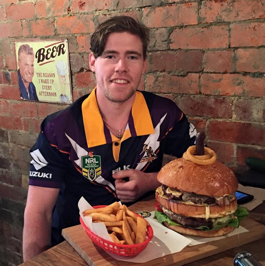 Issac Martin is attempting to break a world record by eating 3.6kg of beef patties in a burger. Photo Contributed
