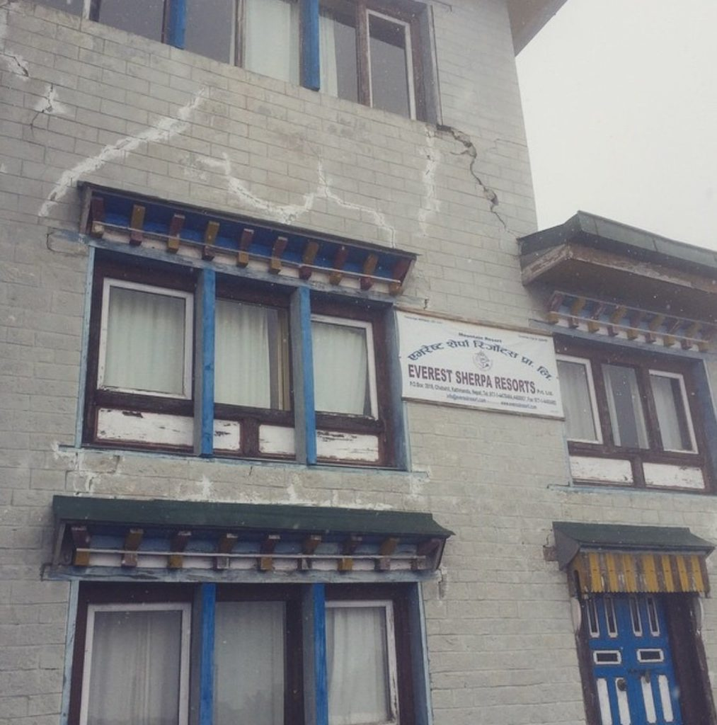 The Everest Sherpa Resort has been severely damaged and evacuated. At 3770m it has cracks all around the building.