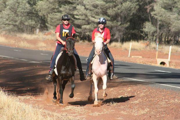 Nicole Sallur and Jo Whittington make their way around the 160km endurance track. Photo Maree Edwards