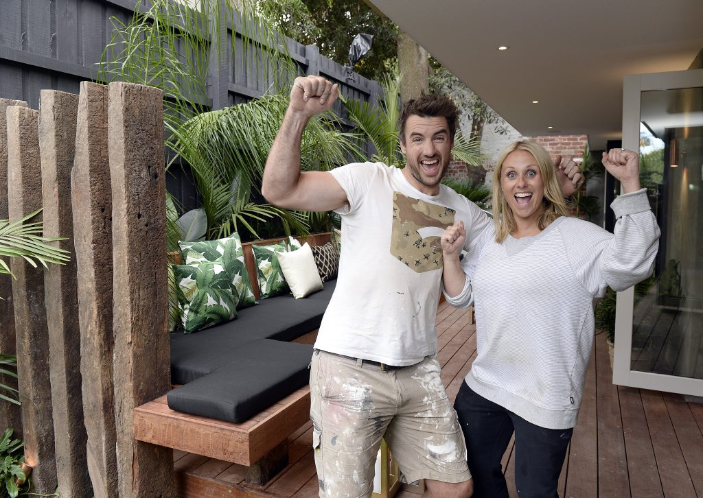 The Block Triple Threat contestants Darren and Deanne Jolly pictured in their winning outdoor terrace.