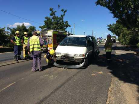 The scene of a multiple car crash outside Bunnings Lismore on the Bruxner Highway.