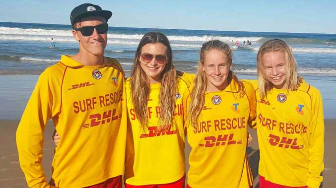 RIGHT: Some of the surf lifesavers that won medals at the Australian Surf Life Championships on the Gold Coast. They are pictured on beach patrol at Lennox Head.