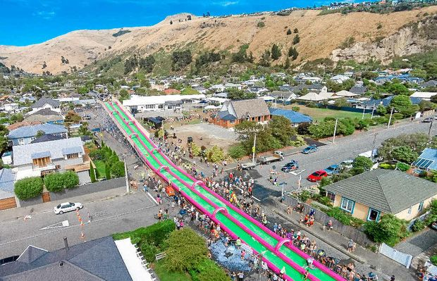 The 220-m slip and slide will line Burgess St at Caloundra