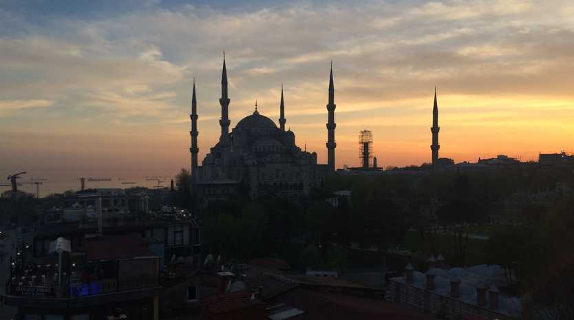 The view of the Blue Mosque is spectacular from the roof top restaurant at the Seven Hills Hotel.
