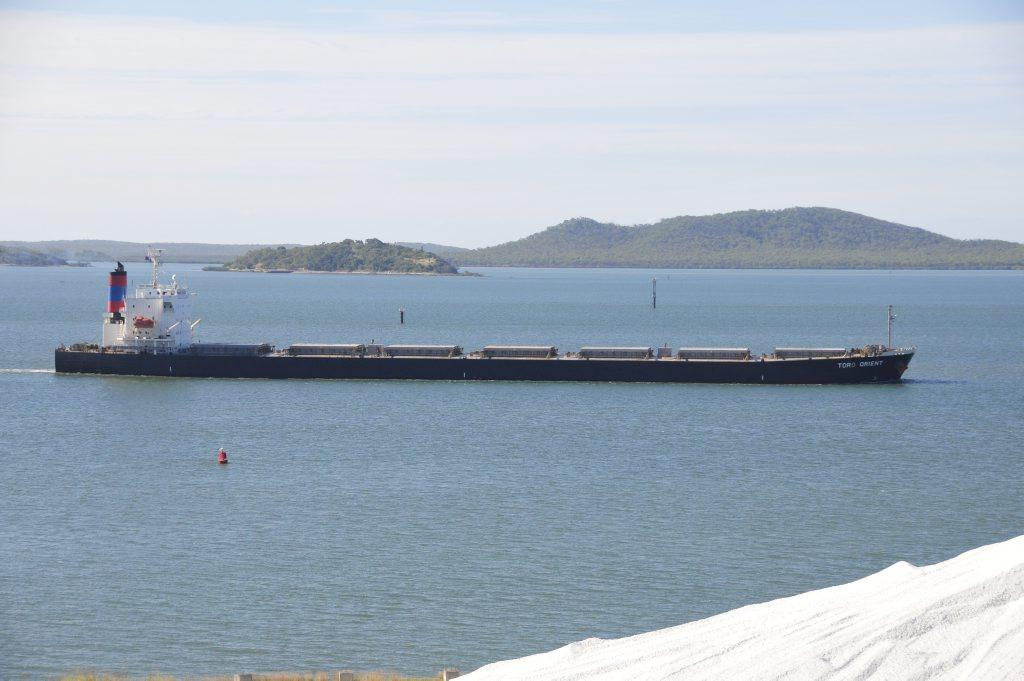Coal shipment leaving Gladstone harbour.