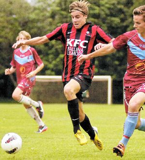 AT RIGHT: Alstonville player Josh Cole (left), pictured here playing against Casino, scored two goals against Goonellabah on Tuesday night.