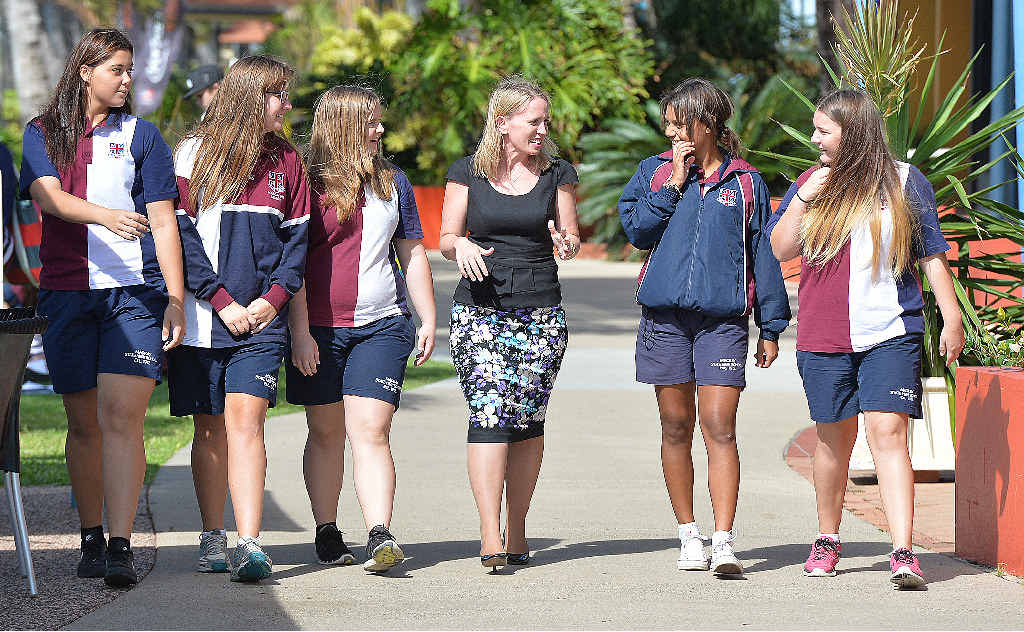 Education Minister Kate Jones with students in Mackay earlier this year.