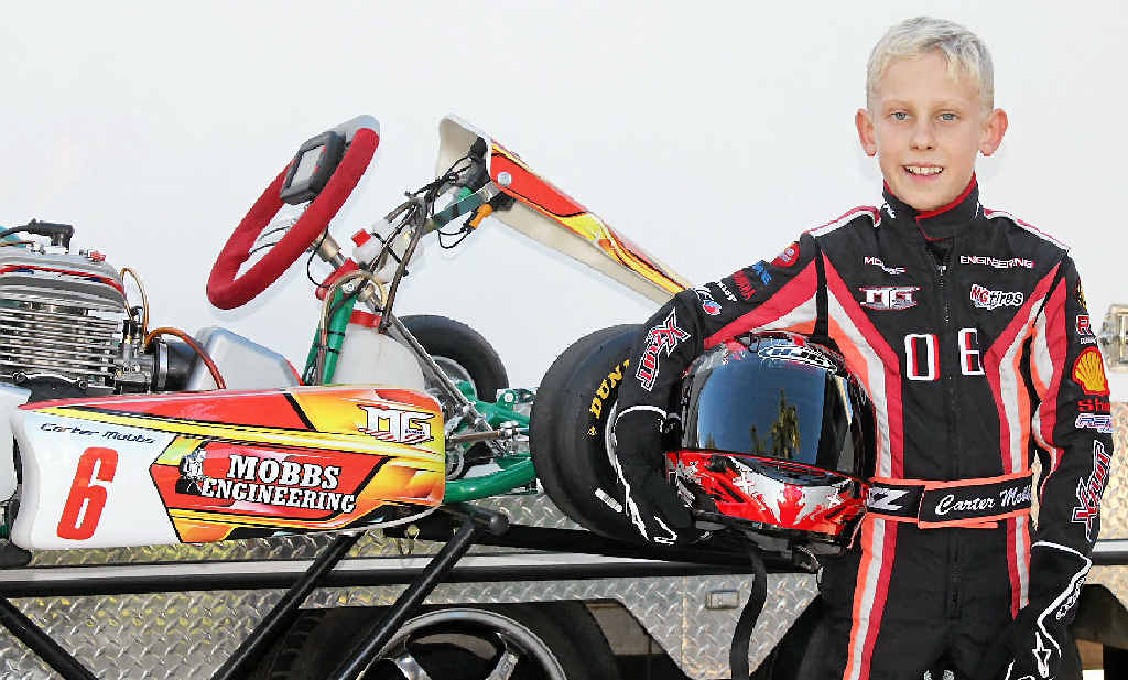 RECORD HOLDER: Carter Mobbs, 8, has set three lap records in his short career. He qualified first at the Queensland state titles.