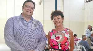 HORRIFIED: Senator Glenn Lazarus takes a stand against CSG with Lock the Gate's Julie Devine at the CSG information meeting at the Grantham Butter Factory.