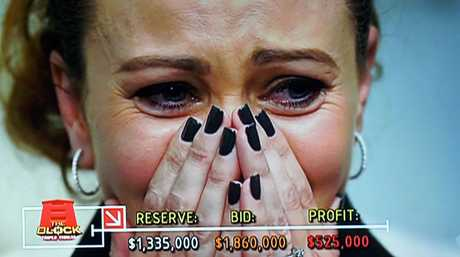 Jess cries tears of joy as she and husband Ayden make more than half a million dollars' profit.