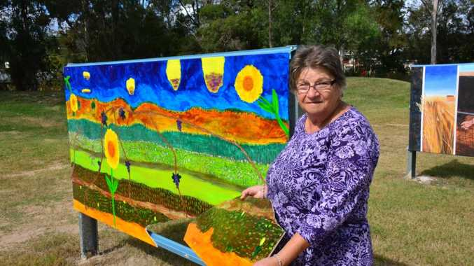 HEARTBREAKING :Dany Moorhead Treasurer of the Nanango Art Society hopes someone will lend a hand and fix the mural. Photo Katherine Morris / South Burnett Times