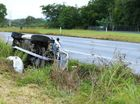 Rollover on Ccunningham Highway east of the Ipswich - Rosewood Road intersection on Thursday morning. Photo: Rob Williams / The Queensland Times
