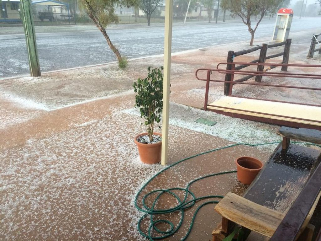 Hail has swept across Eulo this morning. Photo Contributed