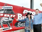 PBR TEAM: APN's Events Manager Dianne Hallam and The Fraser Coast Chronicle's General Manager Darren Bosley promote the bull ride.