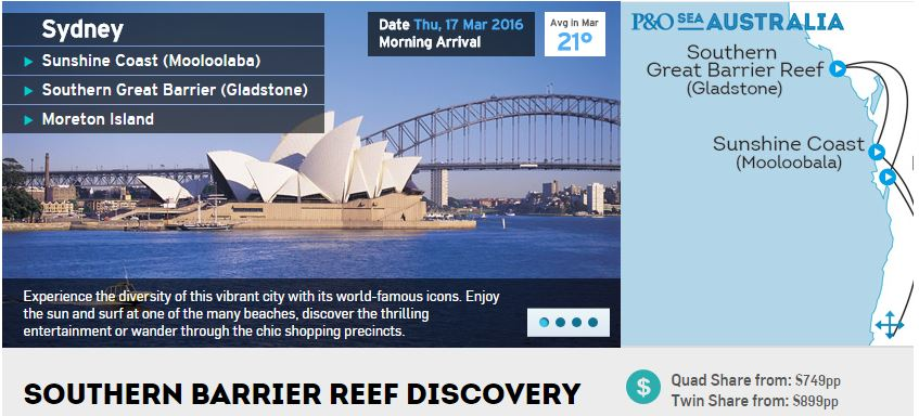 P&O; Cruises has released details of its Southern Barrier Reef Discovery cruise.