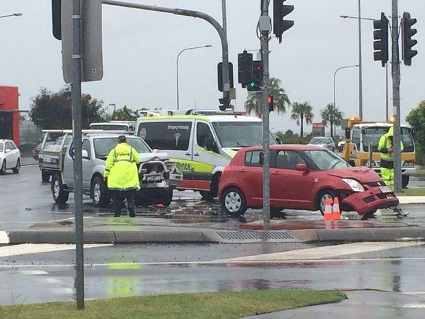 Two cars have collided on Kawana Way at Birtinya.