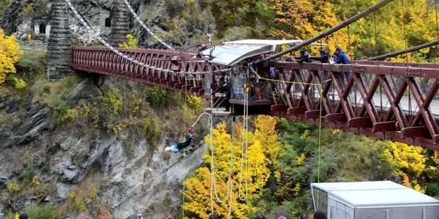 Mary Manssen, of Auckland, becomes the oldest woman to jump with AJ Hackett Bungy at its Kawarau site, near Queenstown.