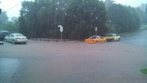 Teak St Maleny goes under. 