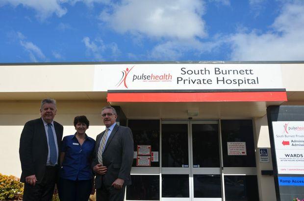 FUTURE IN THE AIR: Pulse will be considering the future of South Burnett Private Hospital.  Mayor Wayne Krtazmann, Director of Nursing Michelle Garratt and Deputy Mayor Keith Campbell.
