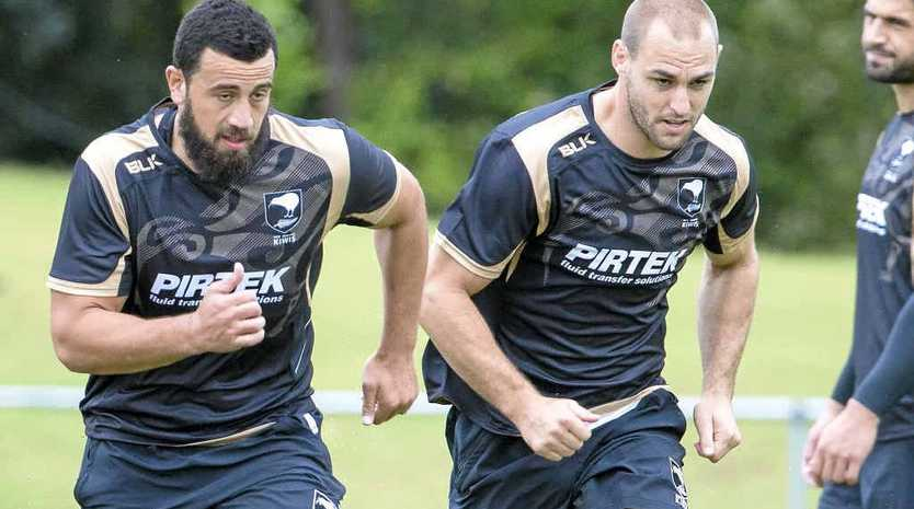 WELL PREPARED: Ben Matulino and Simon Mannering at the Captain's Run yesterday.