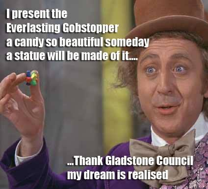 Paul McGann posted this meme relating to the Gladstone Airport sculpture.