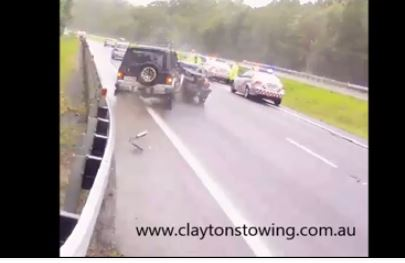 Clayton's towing captures crash