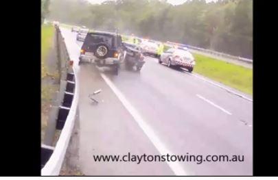 Clayton's towing captures crash