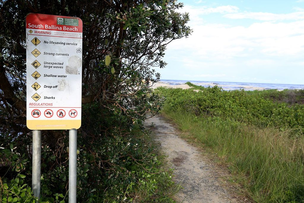 Entrance sign to South Wall beach at South Ballina. Photo: Nolan Verheij-Full / The Northern Star Photo: Nolan Verheij-Full / The Northern Star