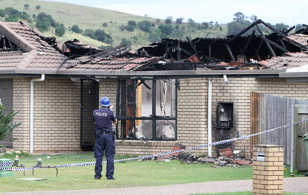 CHAOS: A house erupted into flames and police attended a disturbance at properties in McInnes St, Lowood.