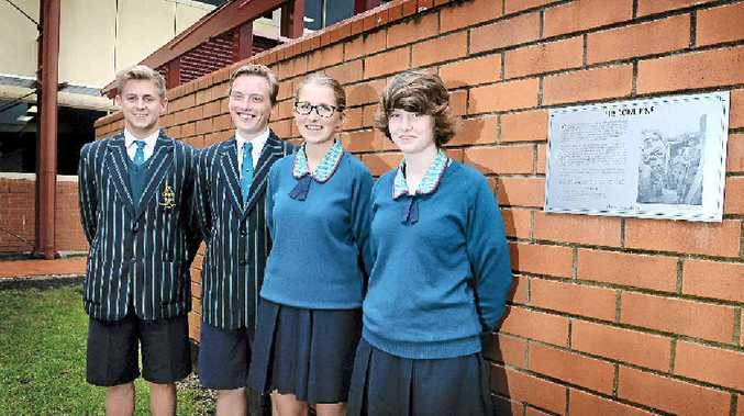 LIFE LESSON: Ballina Emmanuel Anglican College students, from left, Liam Marchant, Jake Davis, Ella Webb and ErinAmy Smekel who attended the Anzac Day centenary service at Gallipoli.