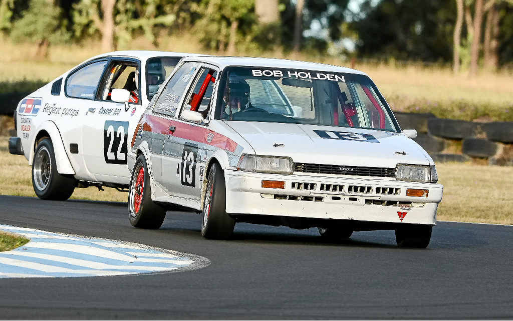 Past Bathurst winner Bob Holden wins a race at the Historic Nationals at Morgan Park. Photo Contributed