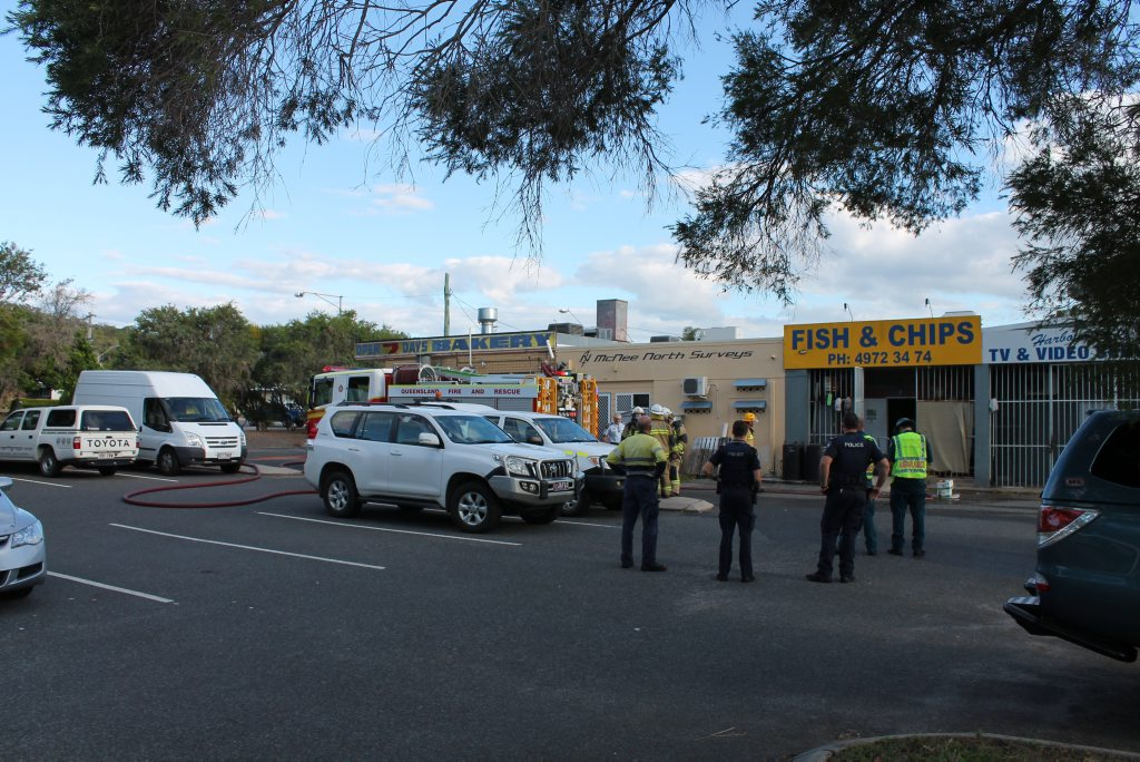 Emergency services on scene at the Mellefont st Fish and Chips store. Photo: Rosie O'Brien/The Observer