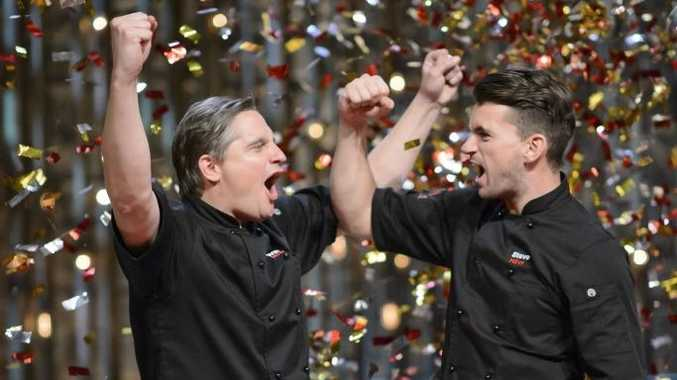 Will and Steve celebrate after winning My Kitchen Rules for 2015.