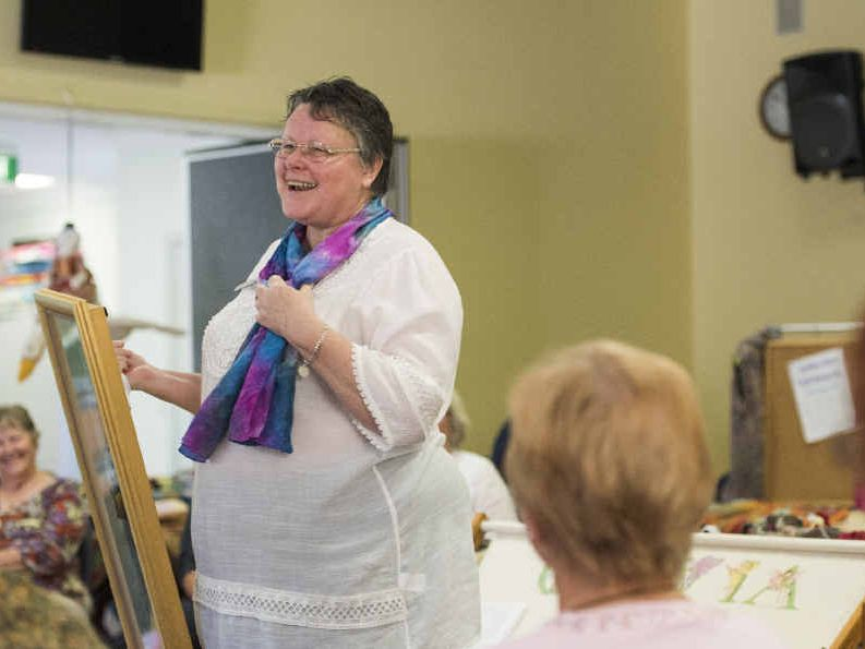 SHOW AND TELL: Grafton Fibrecrafts Group members get almost as much fun out of telling the stories behind their works as they do making them.