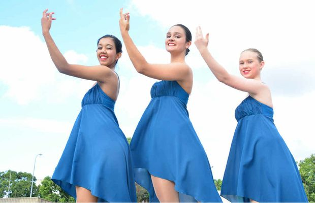 READY TO PERFORM: Sajeewa Ranasinghe, 15, Kassi Maclaren, 15, and Alycia Martin, 14, from St Mary's Catholic College, prepare for their contemporary dance at the weekend.