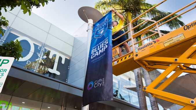 Banners promoting Coffs Harbour as tghe home of the NSW Blues pre-match camps have been erected in the city centre.