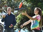 Calling all buskers - Street Life Festival from June 27 to July12 - Jacq Hunt from The Little Street Circus gives some juggling tips to Cr Phil Truscott. Photo: Alistair Brightman / Fraser Coast Chronicle