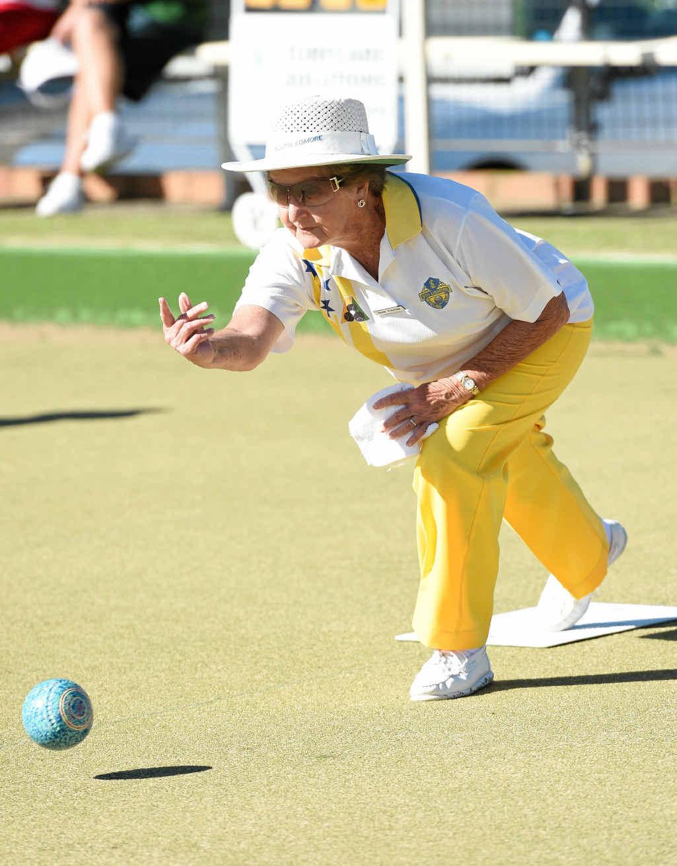 Nola Fairfull at the Joyce Gaggin Memorial Triples at the East Lismore Bowling Club yesterday
