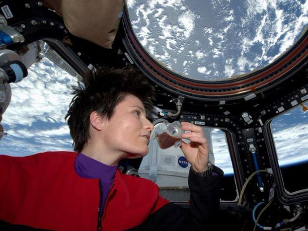 A picture posted to Twitter by astronaut Sam Cristoforetti of the space espresso, served in a specially-developed cup