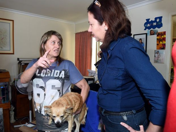Premier Annastacia Palaszczuk talks with Kathy Shipley at her home on Embassy Street Deception Bay. Photo Vicki Wood / Caboolture News