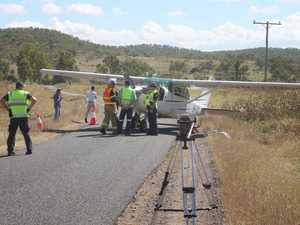 Light plane in emergency landing