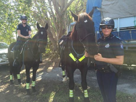 Senior Constable Leita Anderson (with Troop Horse Index) and Senior Constable Katie Blomkamp (with Troop Horse Hercules) of the mounted police out at Beef Australia 2015.