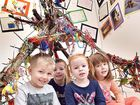 CONDY CREATES: Young artists Corey Wood, 4, Mitchell Nissen, 4, Imogen Wilson, 4, and Maggie Doyle, 3, among the children's work at the Condy Park Kindy exhibition in the Hervey Bay Regional Gallery.