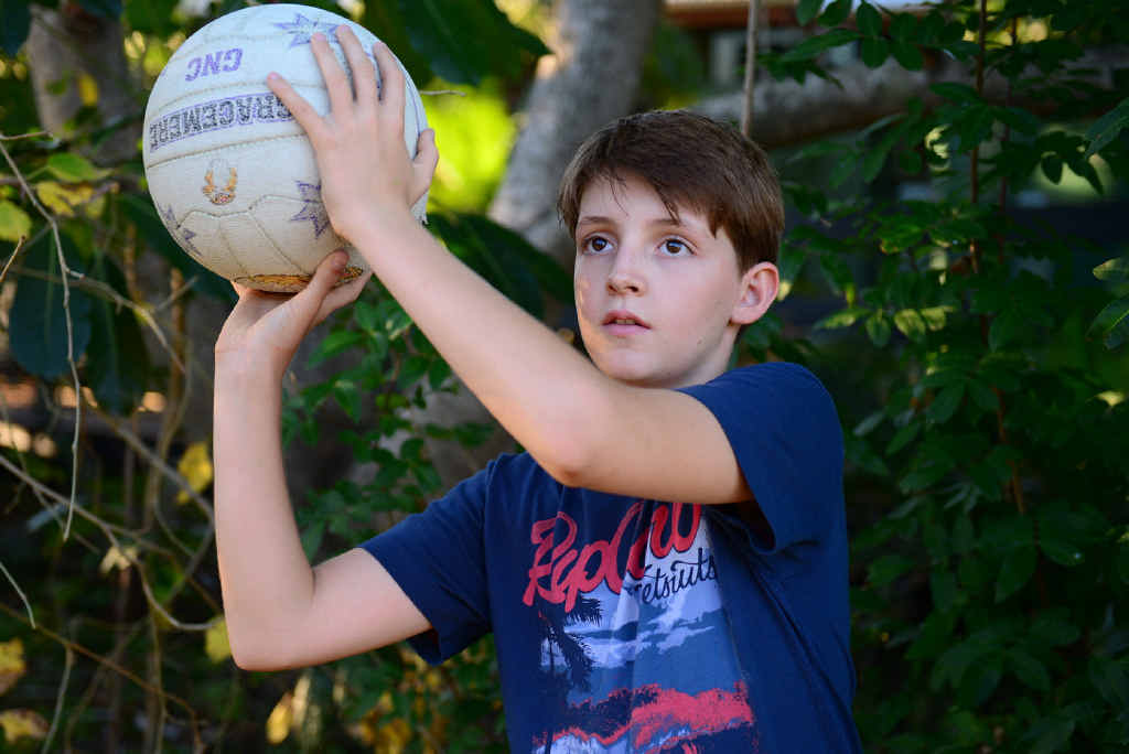 AIMING FOR SOMETHING DIFFERENT: Westwood youngster Beau Scott aims for his goal of becoming a student netball player.