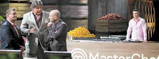 JUDGES' CALL: MasterChef Australia judges Gary Mehigan, Matt Preston and George Calombaris deliberate over James Bell's dish during the 2015 season auditions.