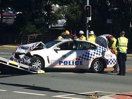 A police car was involved in a two-vehicle crash at the intersection of Collingwood Drive and Smiths Road on Wednesday.
