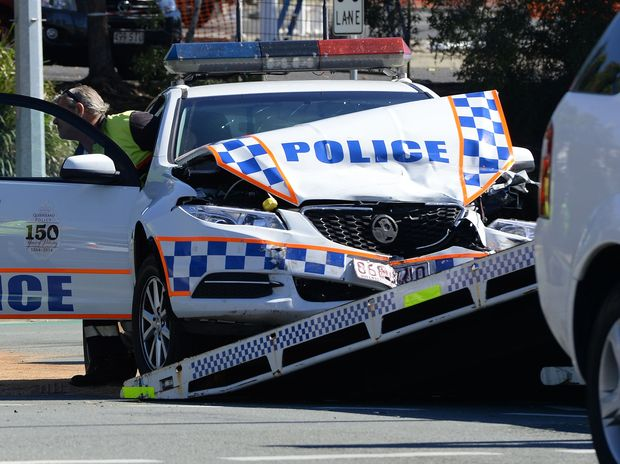 A police car was involved in a traffic crash on the corner of Collingwood Drive and Smiths Road in Redbank on Wednesday morning.