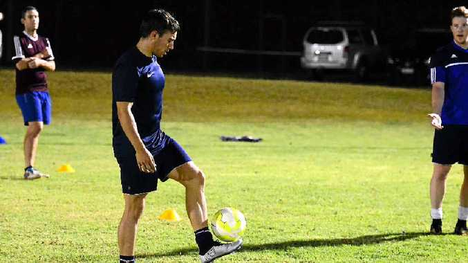 IN CONTROL: Elliott Mangan keeps the ball under control in the trials.
