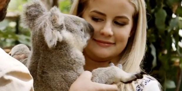 Matilda Rice meets Happy Jay the flatulent koala during an episode of The Bachelor NZ.